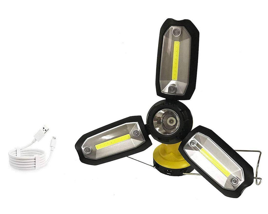 COB LED Work Light Rechargeable Camping Light LED Spotlight. Super Bright 3X COB LED 480Lumen & 3W LED Spotlight 230Lumen w/USB Output Charger Port & Built-in 1200mAh Battery (2in1 Spotlight Yellow)
