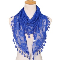 Hot Sale High Quality Promotional Women Triangle Hollow Out Lace Stoles Hijab Scarf Shawl 16 Colors
