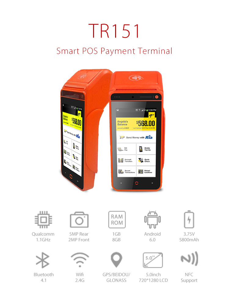emv pci android mobile pos terminal device handheld pos