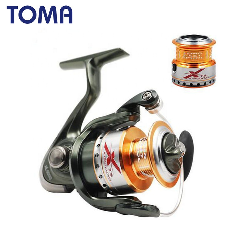 TOMA free spare metal spool smooth 5.2:1 gear gatio spinning fishing reel 10BB coils, Black