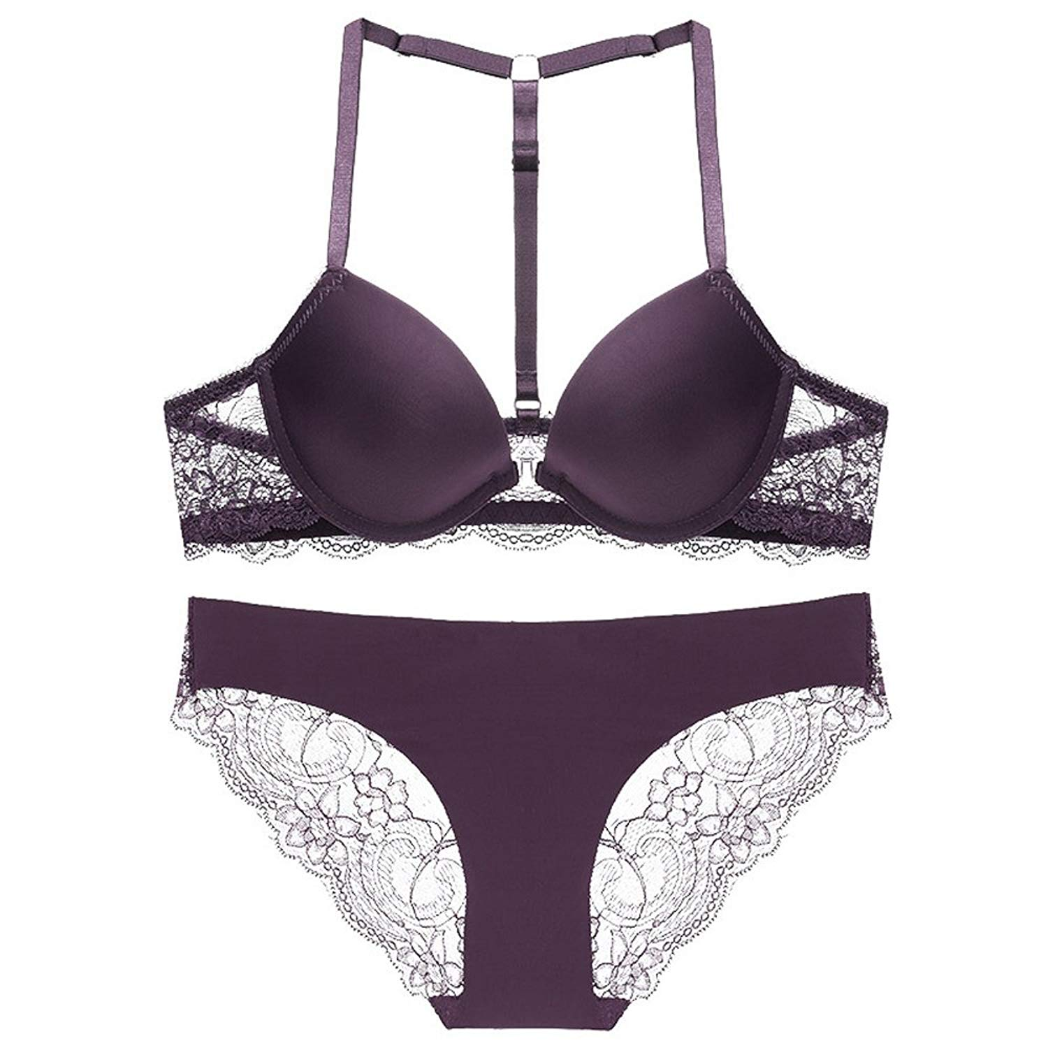 4b6d0a757e6 Get Quotations · Front Closure T Back Strap Sexy Lace Push up Seamless Lingerie  Bra Panty Set