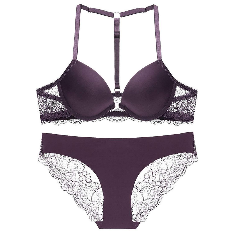 c6d606716acc Get Quotations · Front Closure T Back Strap Sexy Lace Push up Seamless Lingerie  Bra Panty Set