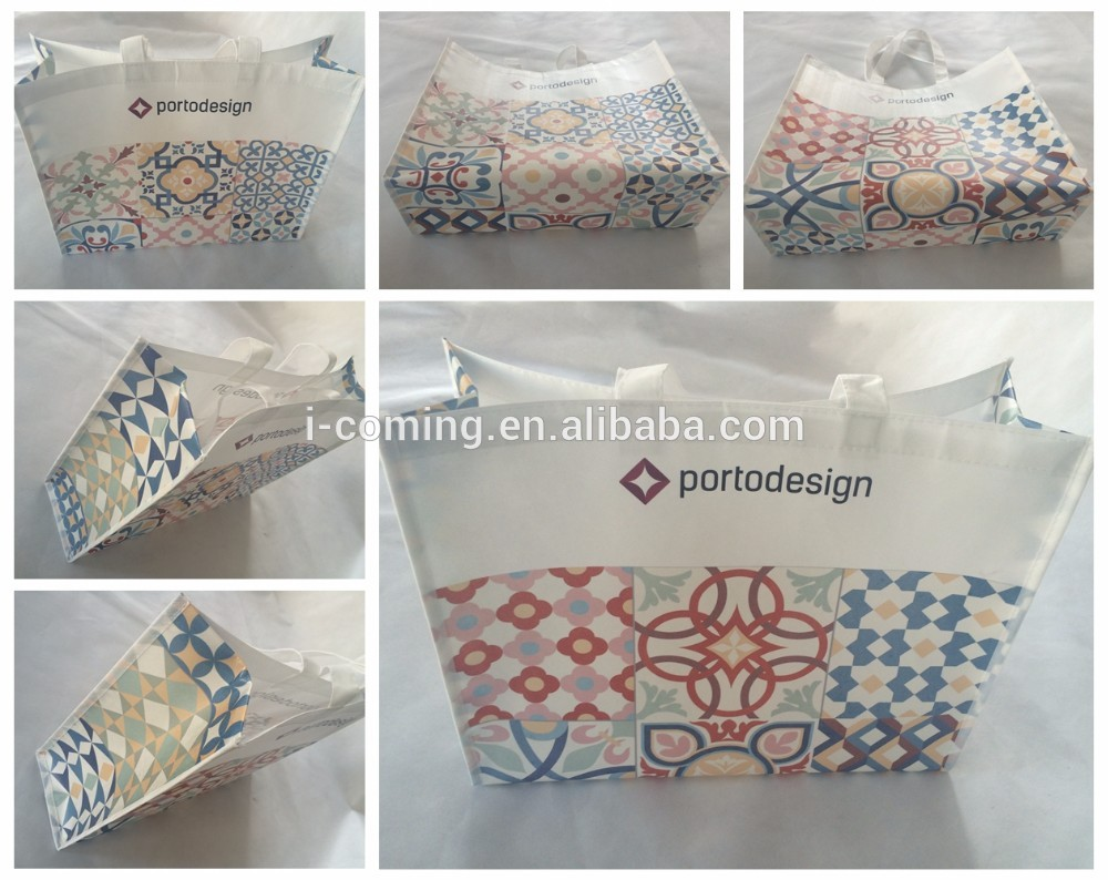 Reusable quilted coated non woven polypropylene waterproof grocery tote shopping bag wholesale