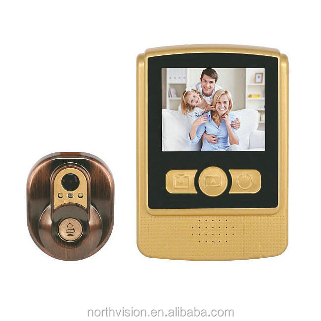 House visitor photo video recording multi ring 2.4' door eye hole camera support nightvision tf card door bell camera