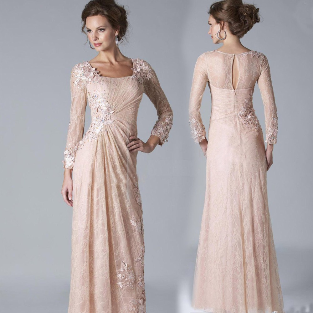 2016 Sexy Chiffon Lace Evening Dresses Long Sleeves Prom ...