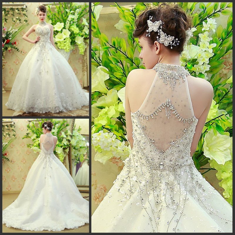 2015 Vestido De Noivas Elegant Wedding Gown Tube Top Train