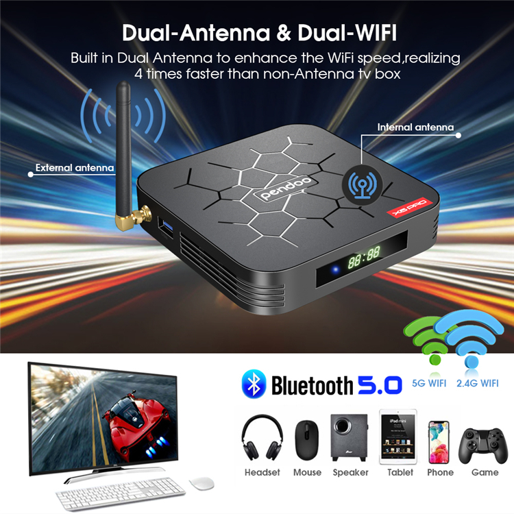 Professional Design Pendoo X6 Pro H6 Bt 4.1 Player Media Android Tv Box 4k