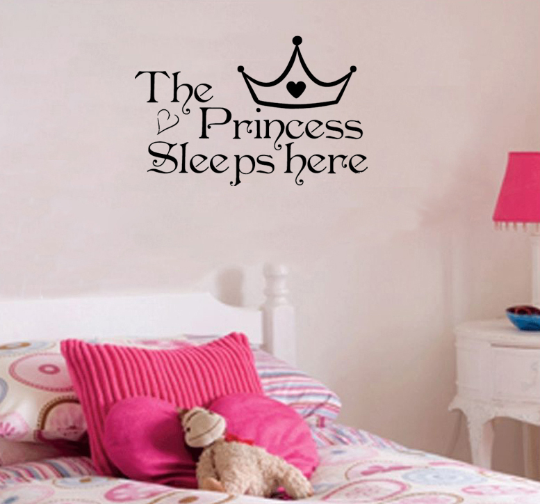 Princess Vinyl Decal Wall Sticker Words Lettering Nursery: The-Princess-sleeps-here-Wall-Say-Quote-Word-Lettering-Art