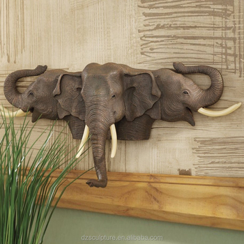 Life Size Tree Elephant Head Fountain For Wall Hanging Decoration