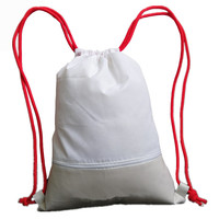 Wholesale Professional White Oxford Cloth Gym Sport Backpack Drawstring with Zipper Pocket