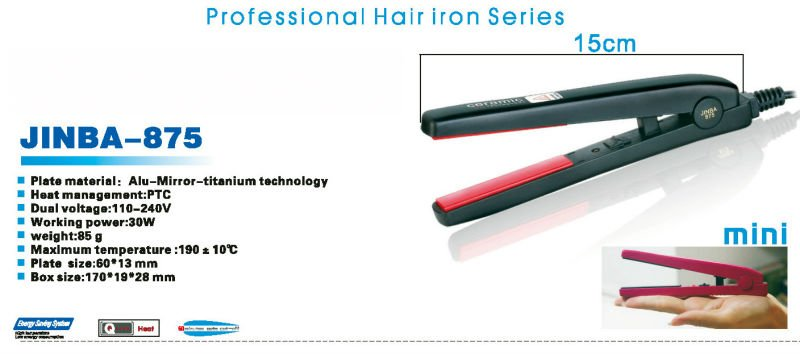 JB-875 Mini hair straightener And Mini flat iron