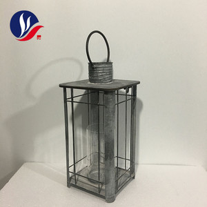 Home Decoration Glass Candle Holder Galvanize Metal Lantern