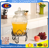 Glass Beverage Dispenser embossed Water bottle with iron stand glass lid