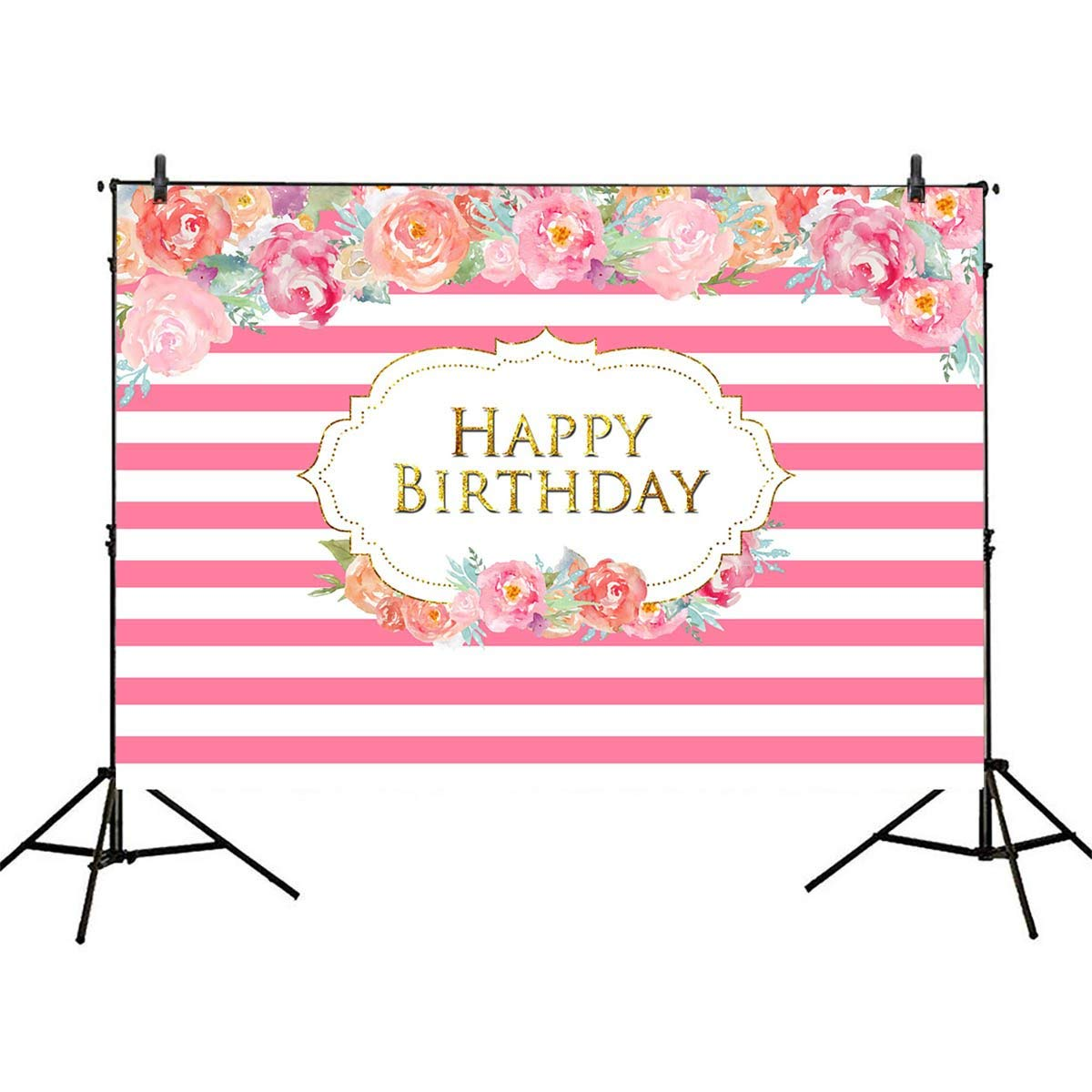 Mehofoto Birthday Backdrop for Party Pink White Stripes Photography Background 7x5ft Water Flower Photo Backdrop for Girl Birthday Banner Prop