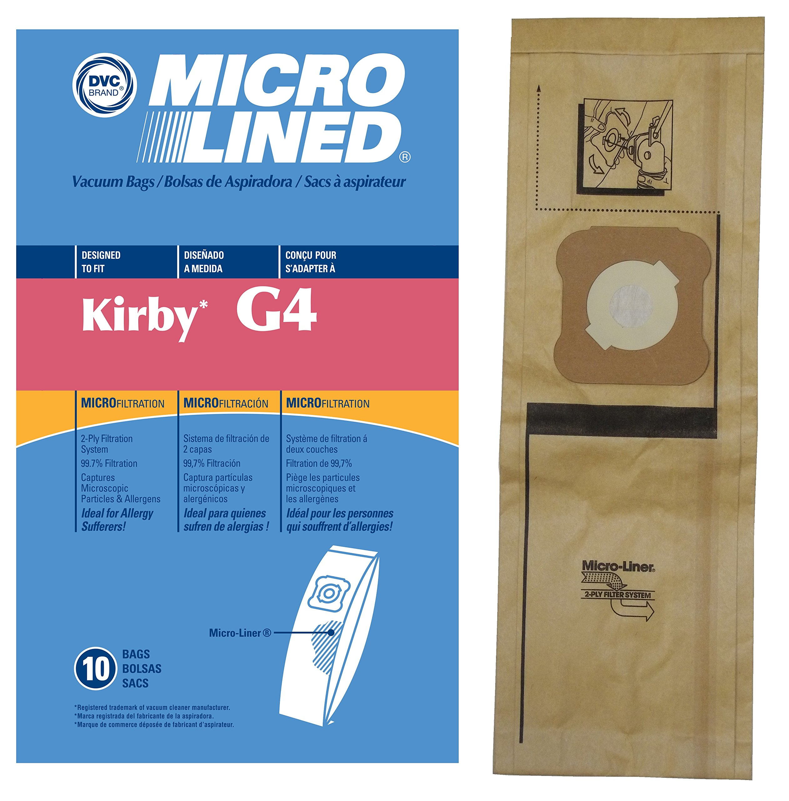 Kirby Generation Series DVC Micro-Lined Allergen Filtration Upright Bags, 10 Bags.