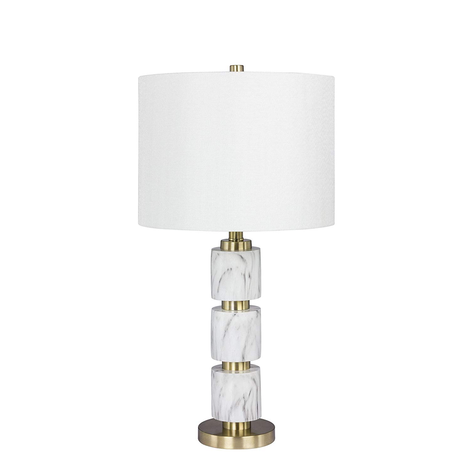 Martin Richard W-6237WHT Fangio Lighting's #6237WHT 27 in. Stacked, Smooth Resin and Metal Table Lamp in a White Faux Marble Finish, 27.00, White Faux Marble with Satin Brass