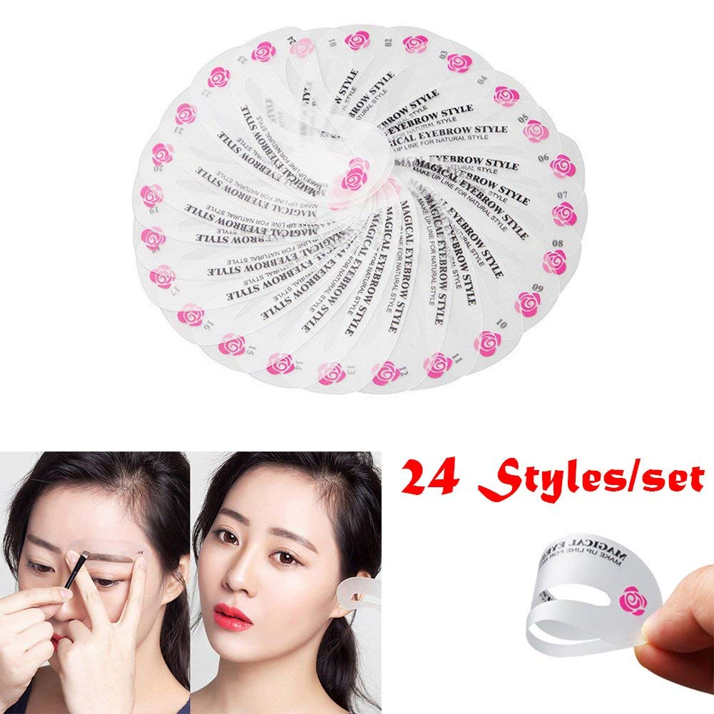 6 Pcs Eyebrow Grooming Scissors Tool Set/24 Styles DIY Eyebrow Shaping Stencils Set For Green Hand (24 pcs, eyebrow guide cards)