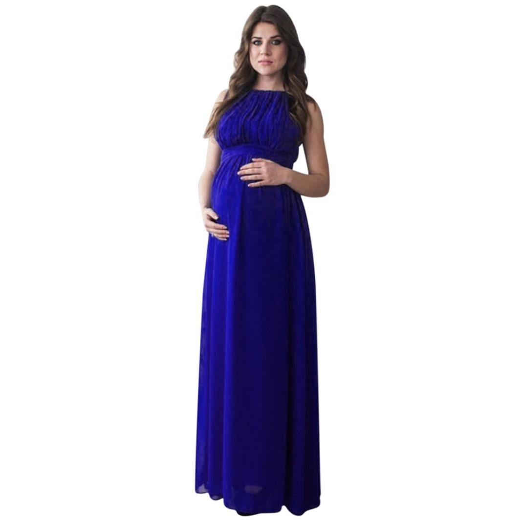 d5f103858600b Get Quotations · Photography Maternity Dress, Auwer Women's Chiffon Maternity  Dress Maxi Photography Sleeveless Props pregnant Chic Tie