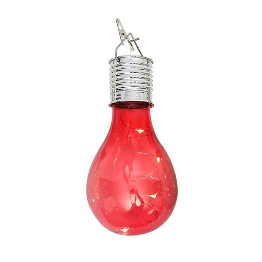 Yezijin Light Bulb, String Light, Waterproof Solar Rotatable Outdoor Garden Camping Hanging LED Light Lamp Bulb (Red)