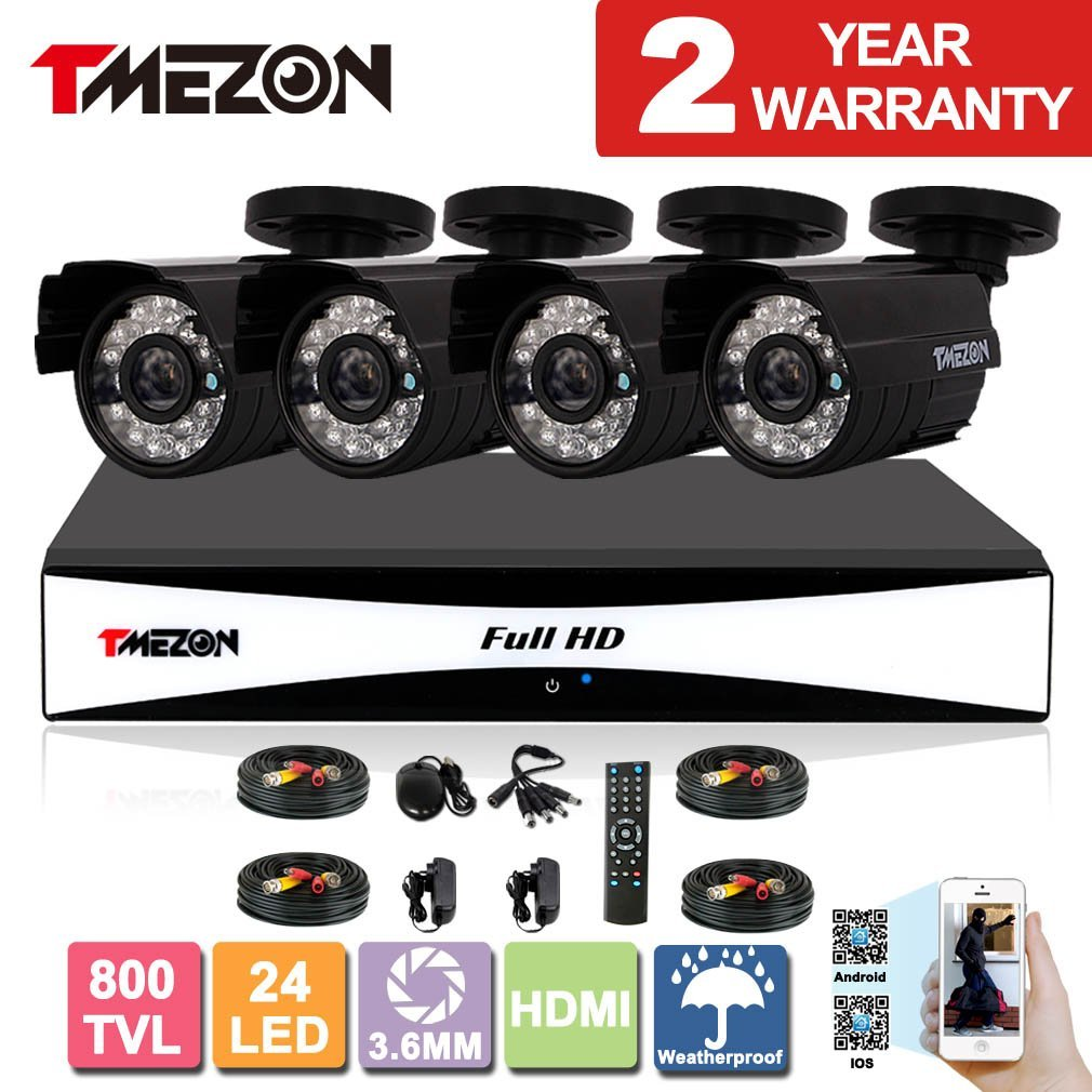 TMEZON 8CH 960H HDMI DVR Kits P2P Recorder 4x 800TVL Cameras Waterproof CCTV Surveillance Security System 3G Remote Mobile Access iPhone Android View
