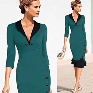 2014 Women Vintage Pinup Elegant Patchwork Cotton Tunic Prom Work Business Party Cocktail Mermaid Dress Bodycon Midi Dress Plus Size S-XXL