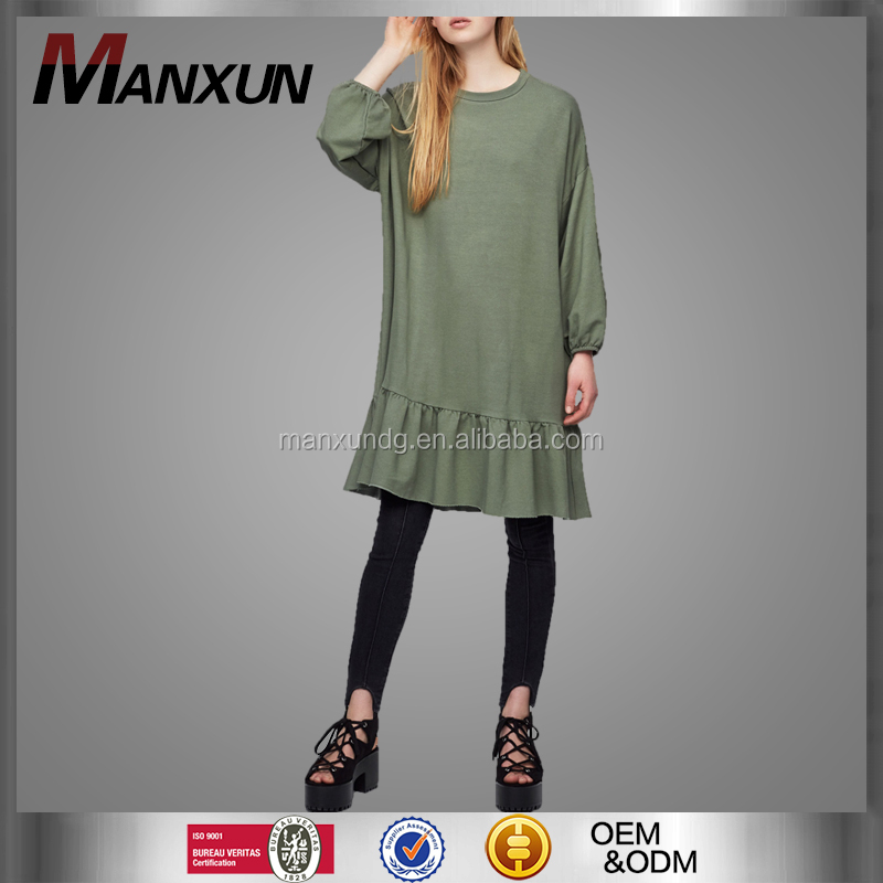 Custom Women Flare Long Sleeve Jasper Dress Fashion Custom Female Casual Clothing Designer One Piece Dress