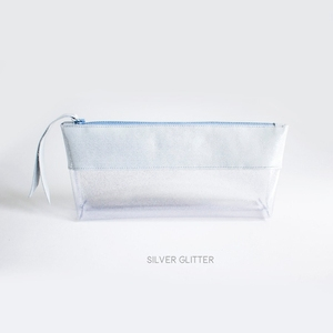 Silver glitter transparent in-flight zipper bag clear travel beauty see through makeup cosmetic bag