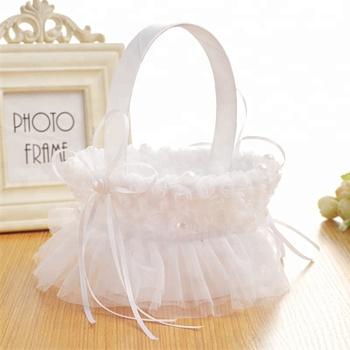 2018 hot selling white wedding flower girl basket with lace and bow 2018 hot selling white wedding flower girl basket with lace and bow decoration mightylinksfo