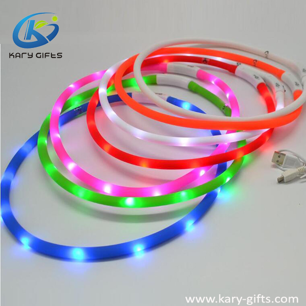 Silicone Glowing Walking Safety LED Dog Collar for Christmas