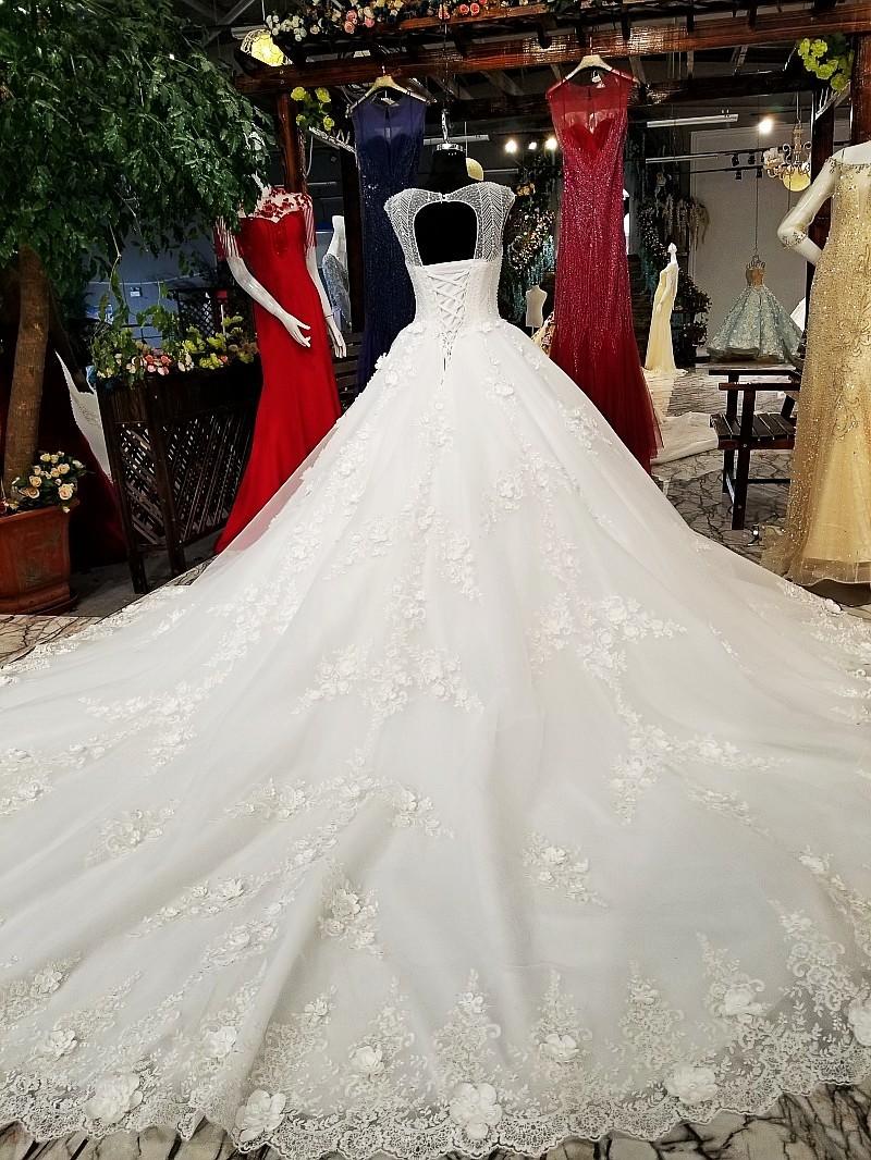 Ls31120 Real Luxury White Princess Wedding Dress Wear Long Train ...