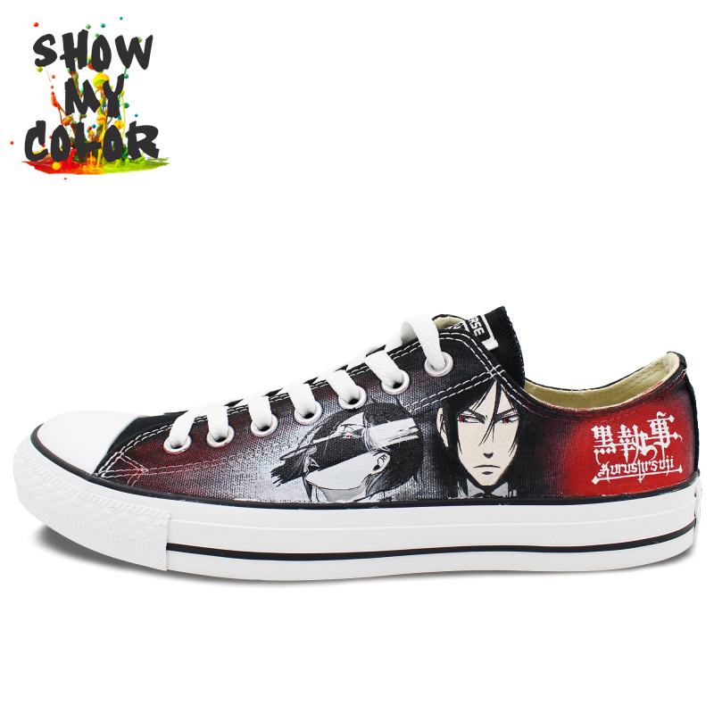 Low Top Converse Mens Black Butler Anime Shoes Custom Hand ...