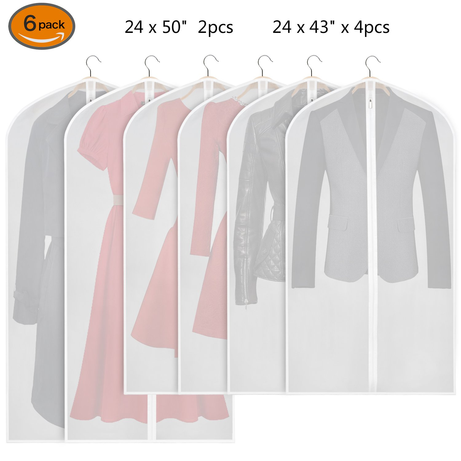 Zilink Hanging Garment Bag Lightweight Suit Bags Moth-proof (Set of 6) with Study Full Zipper for Closet Storage and Travel [Upgraded Version]