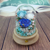 sapphire rose in glass dome