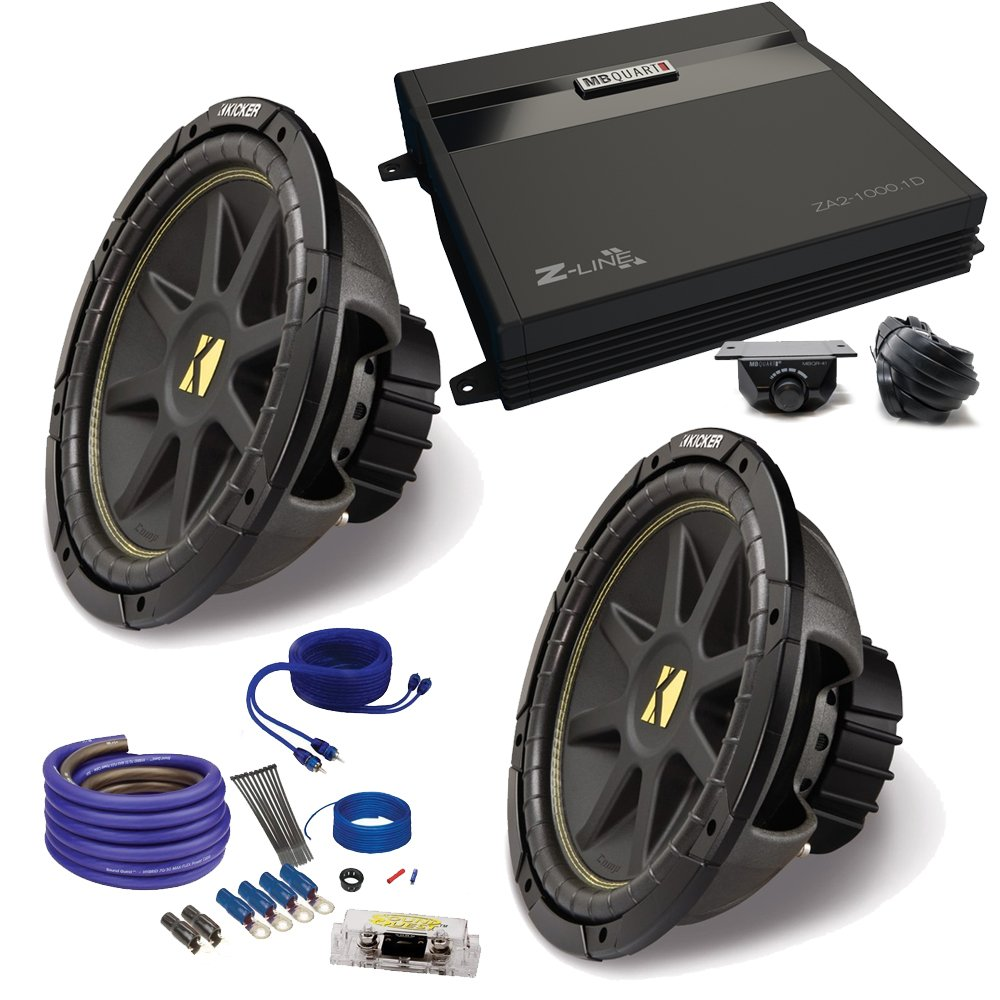"(2) Kicker 10C104 10"" Comp Subwoofers and a ZA2-1000.1D 1000"