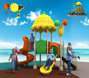 outdoor children playground equipment with kids slide tiger panel play house