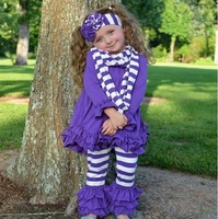 wholesale boutique children clothing fall/winter baby girls cotton children clothes 3pcs set long sleeve top with ruffle pants