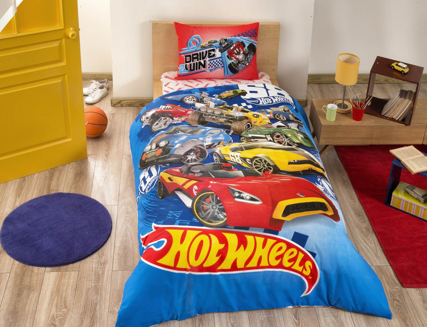 Kids Cars Bedding Duvet Cover Set New Licensed 100% Cotton / Cars Hot Wheels Twin Size Duvet Cover Set / Hot Wheels Bedding Set 3 PCS