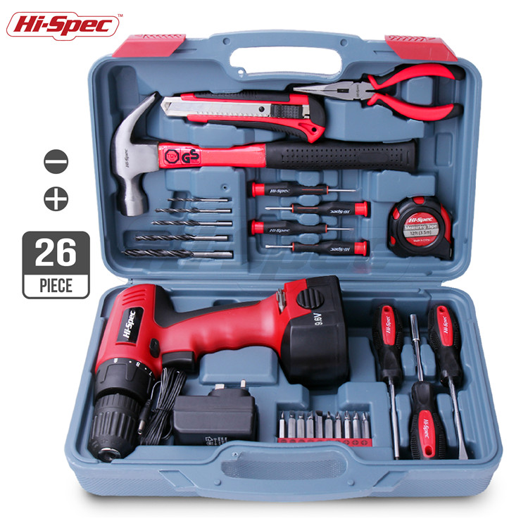 Hispec 26 Stück Power Hand Tool Kit Sets mit 9,6 V 1200 mAh Lithium-ionen-akku Akku-bohrschrauber Elektrische Schraubendreher in werkzeug fall