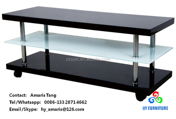 wooden and glass tv stand storage rack shelf with wheels wholesale