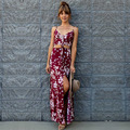 New Sundress Floral Print Women Split Long Cover Up Summer Bohemia Sexy Backless Camisole Dresses Beach