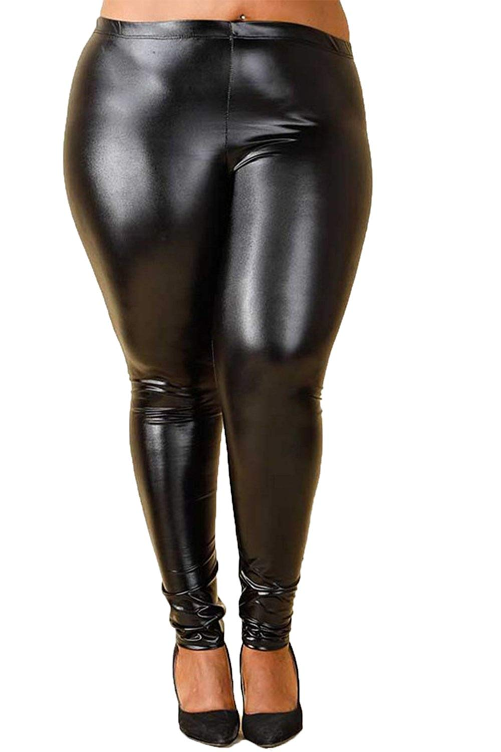401ec7f448f Get Quotations · GENx Womens Plus Size Stretch Funky Metallic Disco PU Leggings  Pants GNP3888
