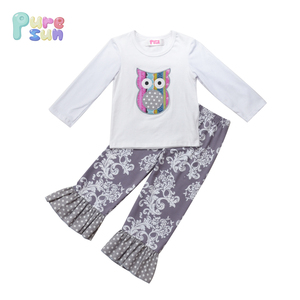 Puresun kids white tops and floral pants cute owl baby little girls clothing children's boutique outfits