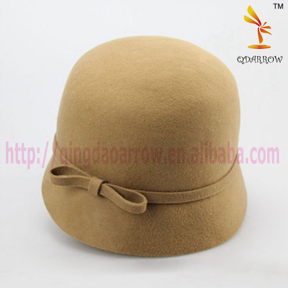 Wool bucket hat with bowtie design small brim style