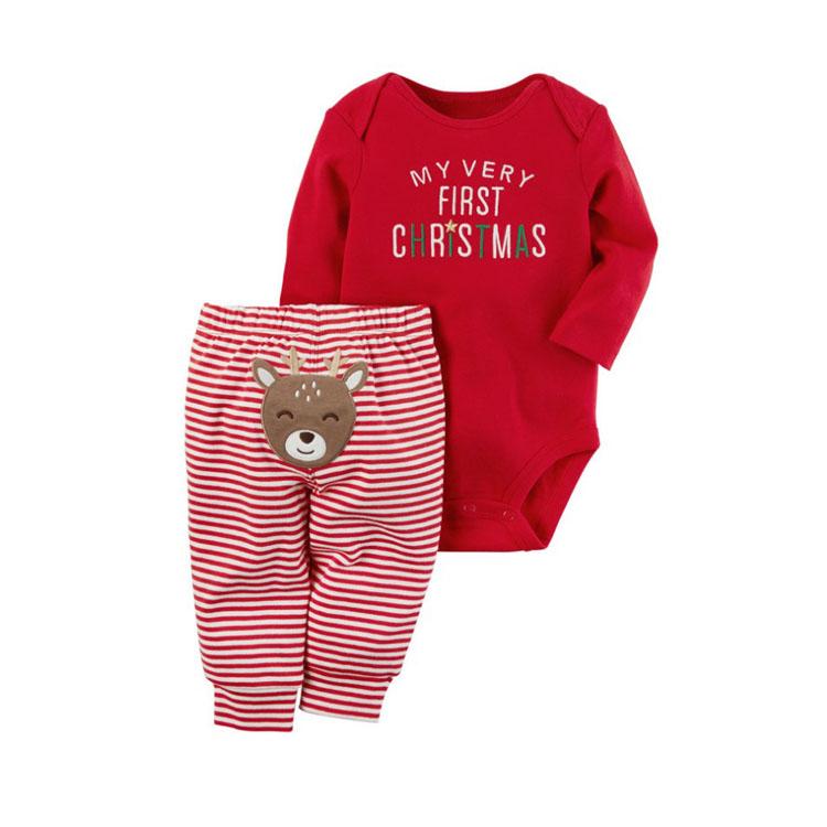En gros Haute Qualité Vêtements De Noël Bébé Barboteuse Orignal Conception À Manches Longues Barboteuse + Pantalon Rayé