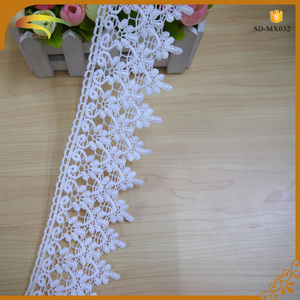 fashion flower pattern white guipure 7cm width cotton crocket lace trim for women's garment