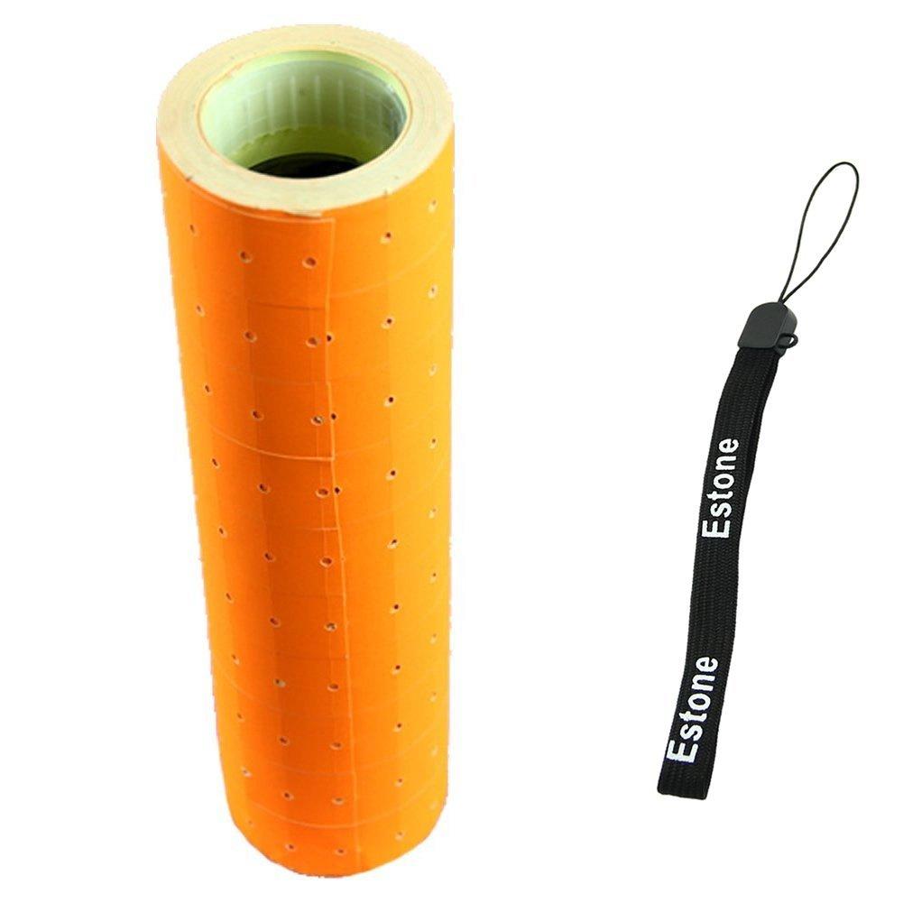 Estone 10 Rolls Fluorescent Color 5000 Price Labels Paper Fr MX-5500 Price Gun Labeller (Orange Yellow)
