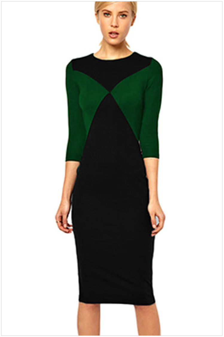 2015 Women Elegant Vintage Pinup Retro Rockabilly O Neck Colorblock Patchwork Ruched Party Cocktail Sheath Wiggle Dress WD143