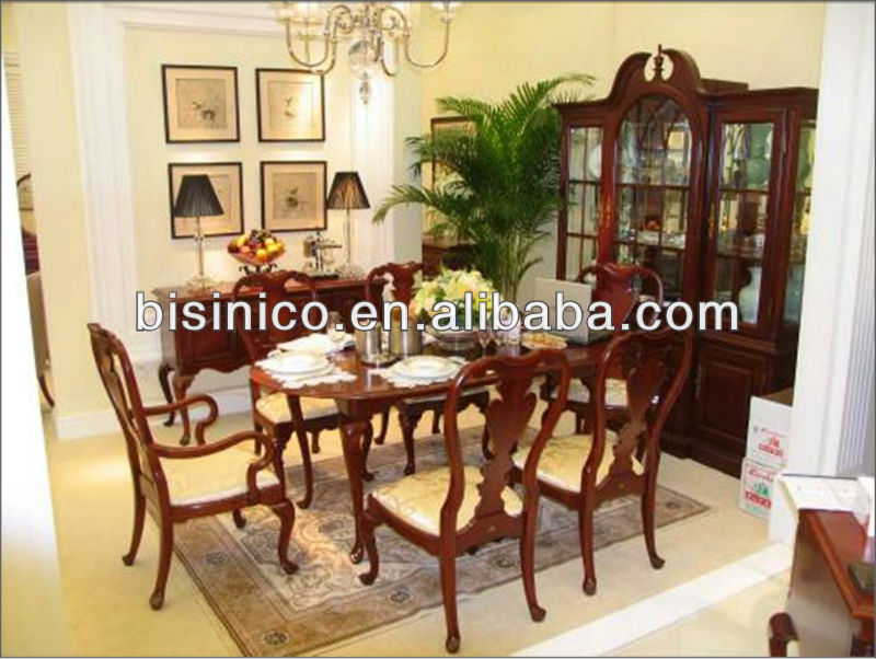 British Royal FurnitureQueen Anne Series FurnitureDining Room Furniture Set TableChairsBuffetWine CabinetSidebord