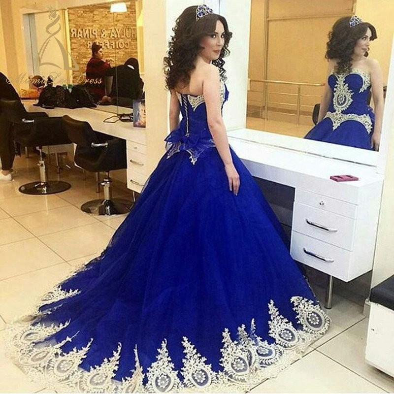 And White Strapless Ball Gown Tulle Peplum Lace Appliqued Royal