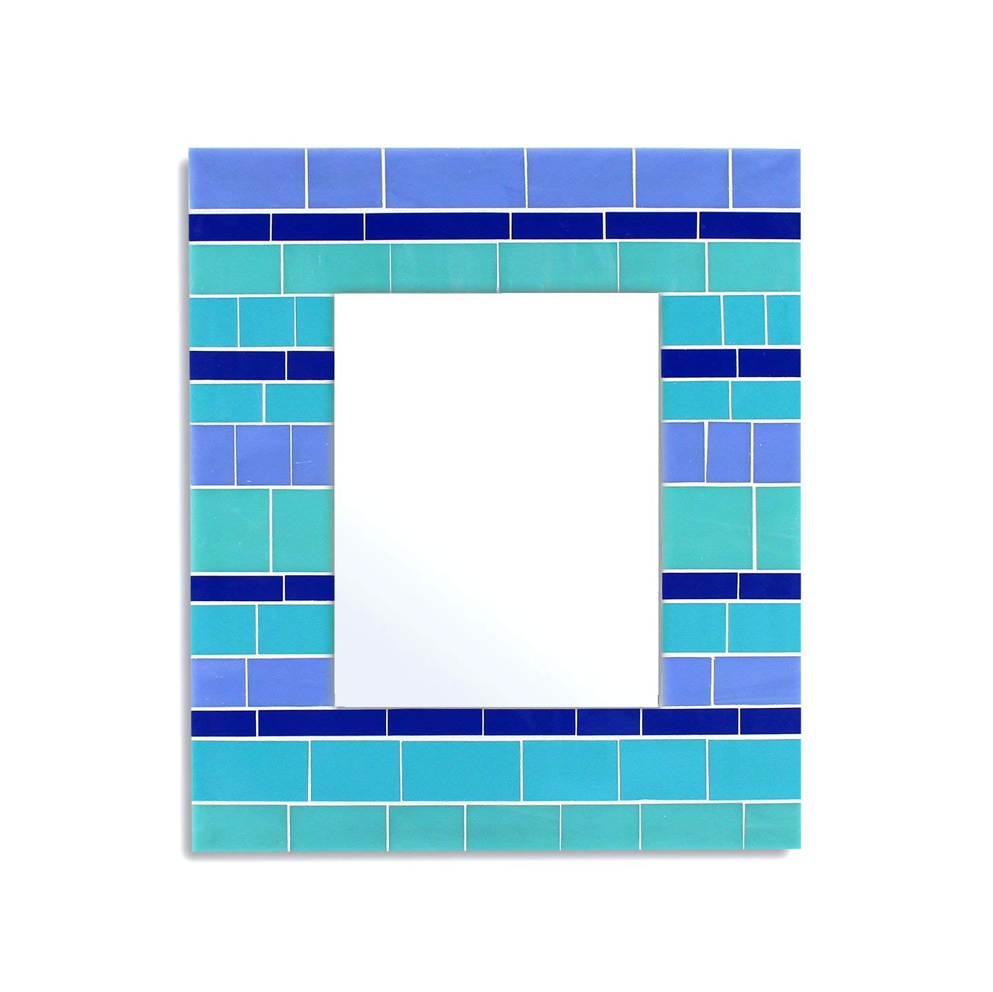 14x16 Glass Mosaic Wall Mirror in Blue, Teal, and Turquoise Stained Glass Tiles for Beach House